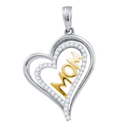 0.21 CTW Diamond Mom Mother Heart Pendant 10KT Two-tone Gold - REF-22N4F