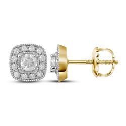 0.37 CTW Diamond Solitaire Square Earrings 14KT Yellow Gold - REF-41Y9X