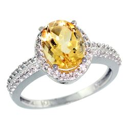 Natural 1.91 ctw Citrine & Diamond Engagement Ring 10K White Gold - REF-31W7K