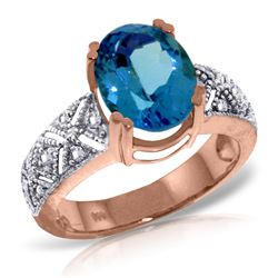 Genuine 3.2 ctw Blue Topaz & Diamond Ring Jewelry 14KT Rose Gold - REF-112W7Y
