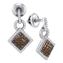 0.50 CTWCognac-brown Color Diamond Diagonal Earrings 10KT White Gold - REF-26H9M