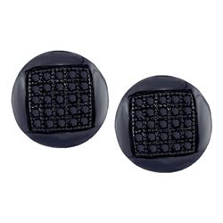 0.15 CTW Mens Black Color Diamond Circle Cluster Stud Earrings 10KT White Gold - REF-14M9H