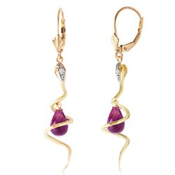 Genuine 4.56 ctw Amethyst & Diamond Earrings Jewelry 14KT Yellow Gold - REF-91H4X