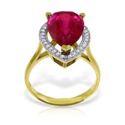 Genuine 5.51 ctw Ruby & Diamond Ring Jewelry 14KT Yellow Gold - REF-103W8Y