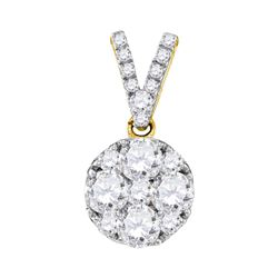 0.99 CTW Diamond Cluster Pendant 10KT Yellow Gold - REF-116K3W