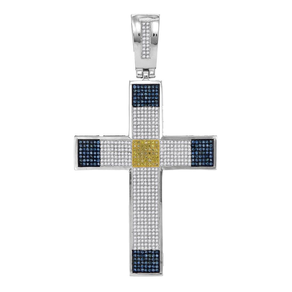 178 Ctw Mens Blue Yellow Color Diamond Roman Cross Charm Pendant