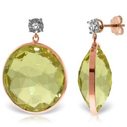 Genuine 34.06 ctw Lemon Quartz & Diamond Earrings Jewelry 14KT Rose Gold - REF-65M3T