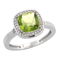 Natural 3.94 ctw Peridot & Diamond Engagement Ring 14K White Gold - REF-39W7K