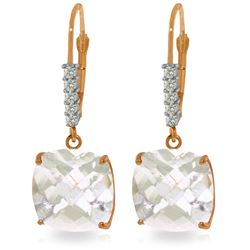 Genuine 7.35 ctw White Topaz & Diamond Earrings Jewelry 14KT Rose Gold - REF-57V3W