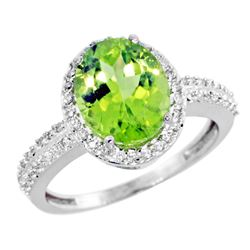 Natural 2.56 ctw Peridot & Diamond Engagement Ring 10K White Gold - REF-37G3M