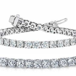 Natural 7.04ct VS-SI Diamond Tennis Bracelet 14K White Gold - REF-592F5R