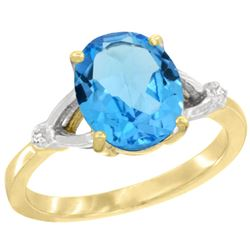 Natural 2.41 ctw Swiss-blue-topaz & Diamond Engagement Ring 10K Yellow Gold - REF-24R6Z