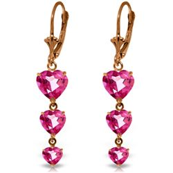 Genuine 6 ctw Pink Topaz Earrings Jewelry 14KT Rose Gold - REF-68F4Z