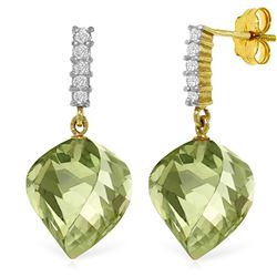 Genuine 26.15 ctw Green Amethyst & Diamond Earrings Jewelry 14KT Yellow Gold - REF-61A2K