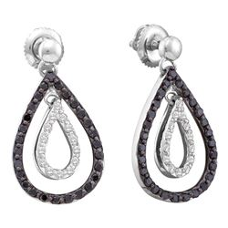 0.80 CTWBlack Color Diamond Double Teardrop Dangle Earrings 14KT White Gold - REF-52W4K