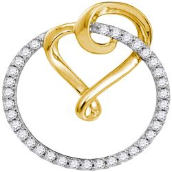 0.34 CTW Diamond Heart Love Circle 2-tone Pendant 10KT Yellow Gold - REF-22K4W