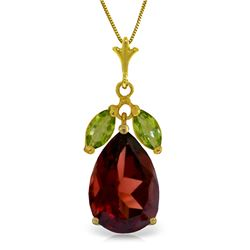 Genuine 6.5 ctw Garnet & Peridot Necklace Jewelry 14KT Yellow Gold - REF-42N2R