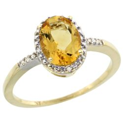Natural 1.2 ctw Citrine & Diamond Engagement Ring 10K Yellow Gold - REF-16H9W