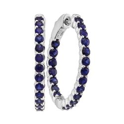 2.5 CTW Blue Sapphire In/Out Hoop Earrings 14KT White Gold - REF-71X9Y