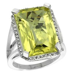Natural 15.06 ctw Lemon-quartz & Diamond Engagement Ring 14K White Gold - REF-75X3A