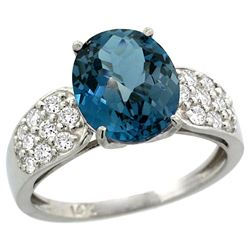 Natural 2.75 ctw london-blue-topaz & Diamond Engagement Ring 14K White Gold - REF-59K2R