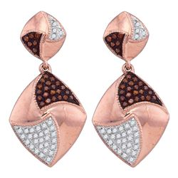 0.33 CTW Red Color Diamond Square Dangle Earrings 10KT Rose Gold - REF-41W9K
