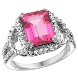 Natural 3.08 ctw pink-topaz & Diamond Engagement Ring 14K White Gold - REF-106K3R