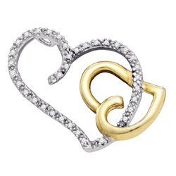 0.16 CTW Diamond Heart Love Pendant 10KT Two-tone Gold - REF-18M2H
