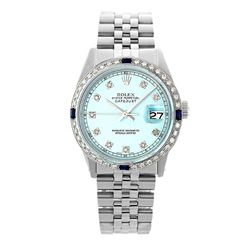 Rolex Pre-owned 36mm Mens Ice Blue Dial Stainless Steel - REF-580H3N