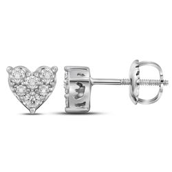 0.35 CTW Diamond Heart Stud Earrings 14KT White Gold - REF-30H2M