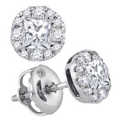 0.50 CTWPrincess Diamond Framed Screwback Stud Earrings 14KT White Gold - REF-59M9H