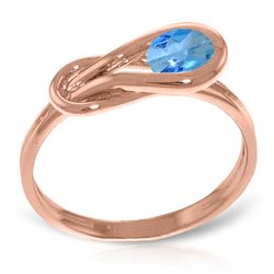 Genuine 0.65 ctw Blue Topaz Ring Jewelry 14KT Rose Gold - REF-47N2R