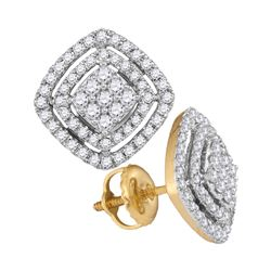 0.48 CTW Diamond Square Cluster Screwback Earrings 14KT Yellow Gold - REF-52M4H