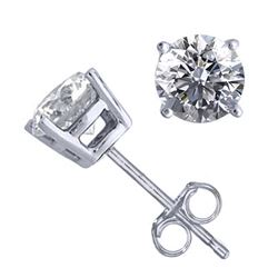 14K White Gold Jewelry 1.02 ctw Natural Diamond Stud Earrings - REF#141W9Z-WJ13296
