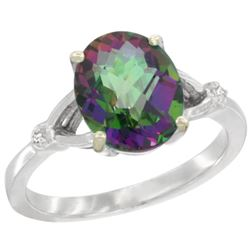 Natural 2.41 ctw Mystic-topaz & Diamond Engagement Ring 14K White Gold - REF-33A8V
