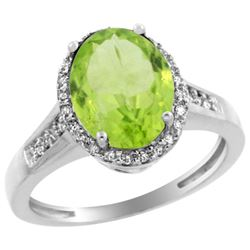Natural 2.49 ctw Peridot & Diamond Engagement Ring 10K White Gold - REF-36M5H