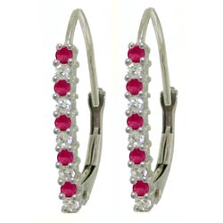 Genuine 0.35 ctw Ruby & Diamond Earrings Jewelry 14KT White Gold - REF-40N5R