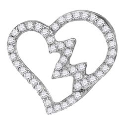 0.15 CTW Diamond Heartbeat Heart Outline Pendant 10KT White Gold - REF-9W7K