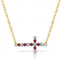 Genuine 0.24 ctw Ruby & Diamond Necklace Jewelry 14KT Yellow Gold - REF-42K2V