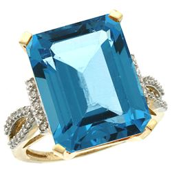 Natural 12.14 ctw Swiss-blue-topaz & Diamond Engagement Ring 14K Yellow Gold - REF-66X2A