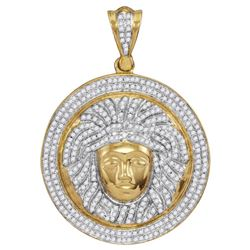 1 CTW Mens Diamond Gorgon Medusa Circle Medallion Charm Pendant 10KT Yellow Gold - REF-89N9F
