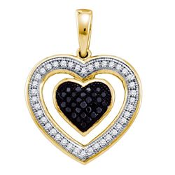 0.20 CTW Black Color Diamond Framed Heart Pendant 10KT Yellow Gold - REF-19M4H