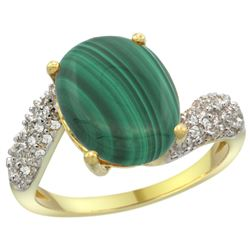 Natural 4.95 ctw malachite & Diamond Engagement Ring 14K Yellow Gold - REF-47W6K