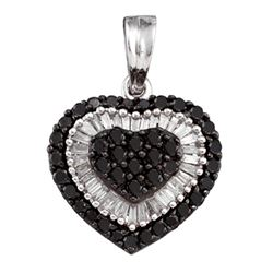 1.02 CTW Black Color Diamond Heart Cluster Pendant 14KT White Gold - REF-49Y5X