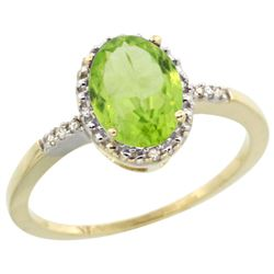 Natural 1.39 ctw Peridot & Diamond Engagement Ring 10K Yellow Gold - REF-17G5M