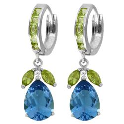 Genuine 14.3 ctw Blue Topaz & Peridot Earrings Jewelry 14KT White Gold - REF-82Y9F