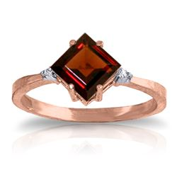 Genuine 1.77 ctw Garnet & Diamond Ring Jewelry 14KT Rose Gold - REF-28N8R