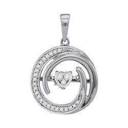 0.15 CTW Diamond Heart Circle Pendant 10KT White Gold - REF-26K9W