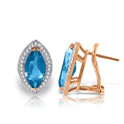Genuine 4.8 ctw Blue Topaz & Diamond Earrings Jewelry 14KT Rose Gold - REF-103K3V