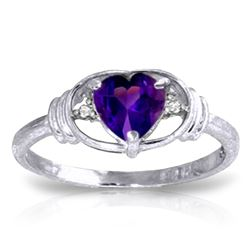 Genuine 0.96 ctw Amethyst & Diamond Ring Jewelry 14KT White Gold - REF-40P3H